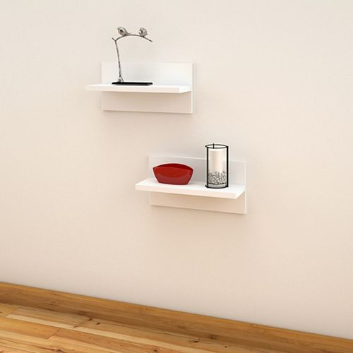 Nexera Liber-T Floating Wall Shelves in White (set of 2)