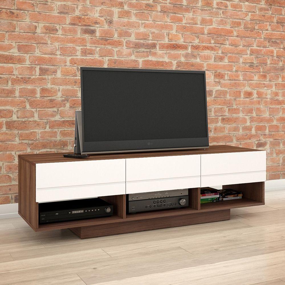 Nexera Nexera Sequence 60-inch TV Stand in Walnut and White
