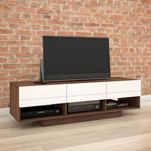 Nexera Sequence 60-inch TV Stand in Walnut and White