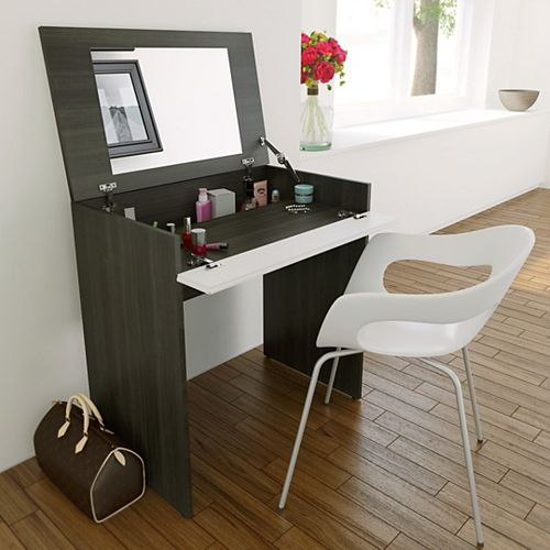 Allure Vanity in Ebony and White with Enclosed Storage and Mirror
