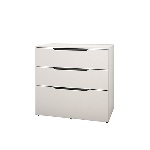 Arobas 31.75-inch x 30.75-inch x 19.25-inch 3-Drawer Manufactured Wood Filing Cabinet in White