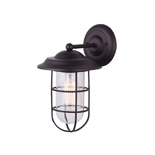 Canarm Bayard 1 Light Outdoor Orb Wall Lantern With Cage