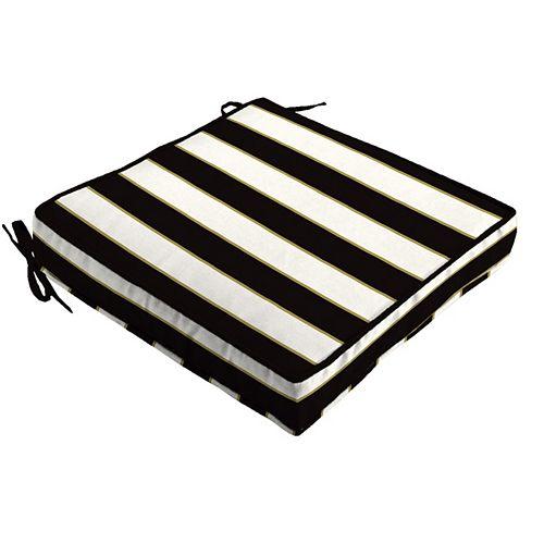 Outdoor Seat Cushion Black & White Stripe