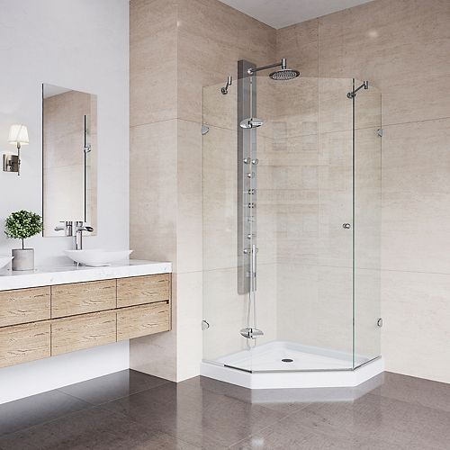 VIGO Verona 36.125 inch x 76.75 inch Frameless Neo-Angle Shower Enclosure in Chrome with Clear Glass and Base