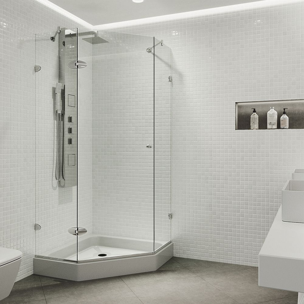 VIGO Verona 38.125 inch x 78.75 inch Frameless Neo-Angle Shower Enclosure in Chrome with Clear Glass with Base in White