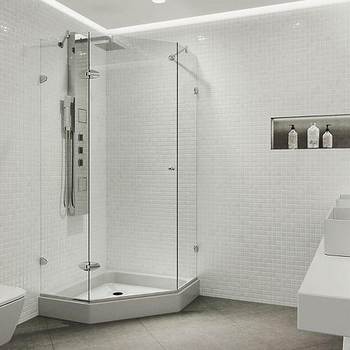 Verona 40.25 inch x 78.75 inch Frameless Neo-Angle Shower Enclosure in Chrome and Clear Glass with Base in White