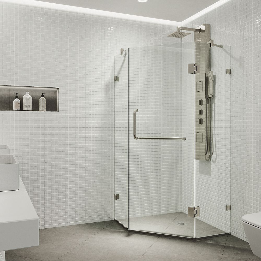 VIGO Piedmont 34.125 inch x 73.375 inch Frameless Neo-Angle Hinged Corner Shower Enclosure in Brushed Nickel with Clear Glass