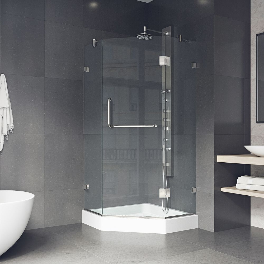 VIGO Piedmont 36.125 inch x 78.75 inch Frameless Neo-Angle Shower Enclosure in Brushed Nickel with Base in White