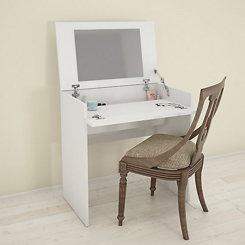 Blvd. 29.75-inch x 30.75-inch x 18.6-inch Writing Desk & Vanity with Mirror in White