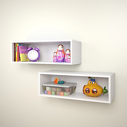 Blvd. 27.75-inch x 9.5-inch x 9-inch Rectangular Floating Wall Shelves in White (2-Pack)