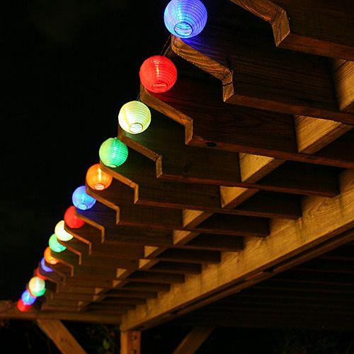 20-Light LED Multi-Color Chinese Lantern String Light Set