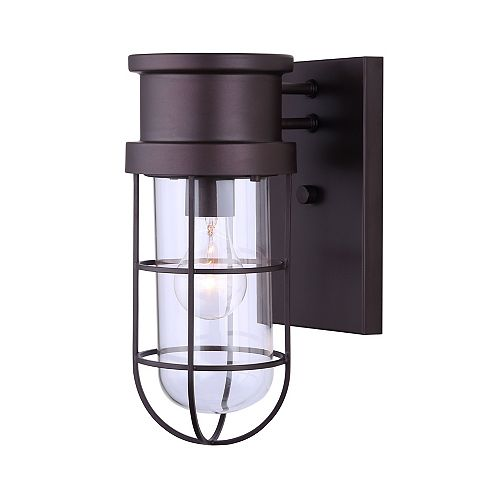Canarm Brooklyn 1 Light Outdoor Orb Wall Light, Wire Cage & Clear Glass