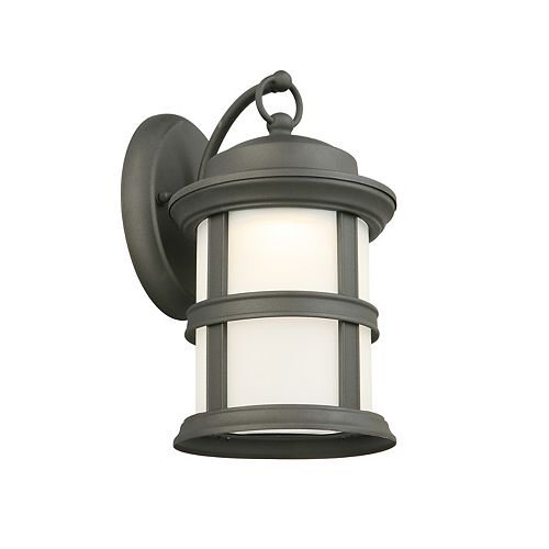 1-Light Black LED Outdoor Wall Lantern with Frosted Glass Shade - ENERGY STAR®