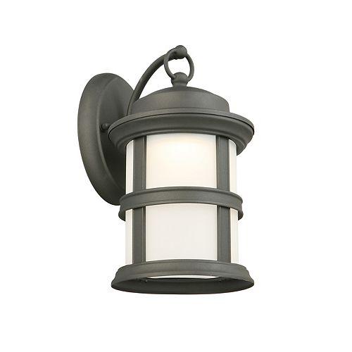 Applique d'extérieur noire, à une ampoule DEL, avec diffuseur en verre givré - ENERGY STAR®