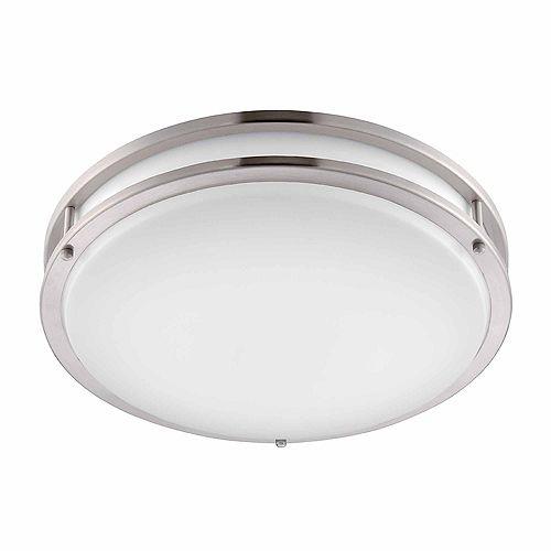 Plafonnier DEL 16 po à profil bas au fini nickel brossé/blanc