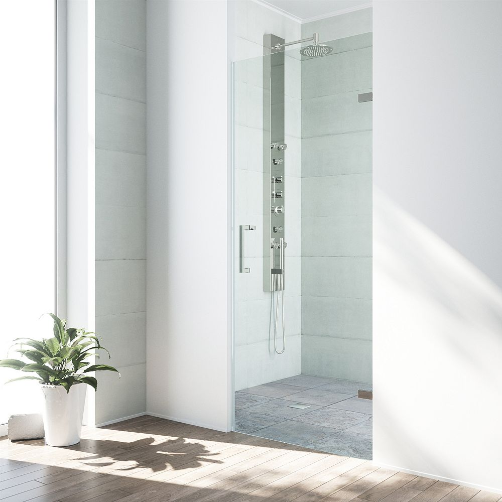 VIGO Soho 28 to 28-1/2 inch x 70.625 inch Frameless Hinged Shower Door in Stainless Steel with Clear Glass and Handle