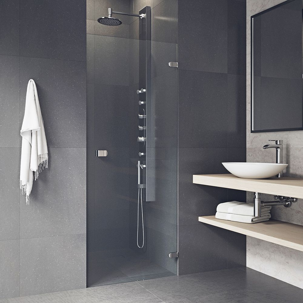 VIGO Tempo 24 to 24-1/2 inch x 70.625 inch Frameless Hinged Shower Door in Stainless Steel with Clear Glass and Handle