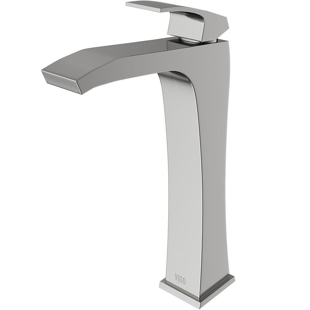 VIGO Blackstonian Single Hole Single-Handle Vessel Bathroom Faucet in Brushed Nickel