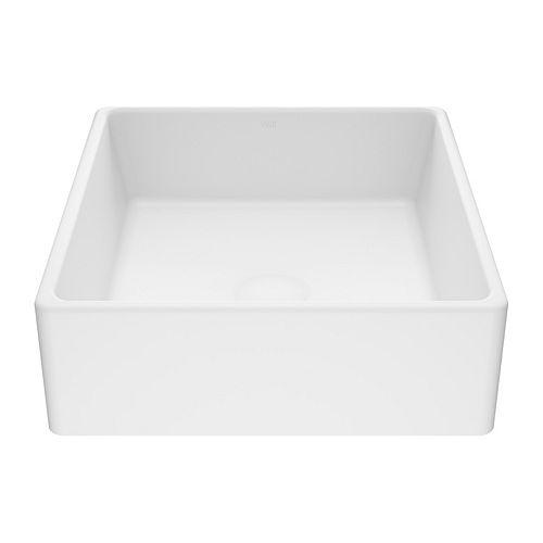Matte Stone Dianthus Composite Square Vessel Bathroom Sink in White