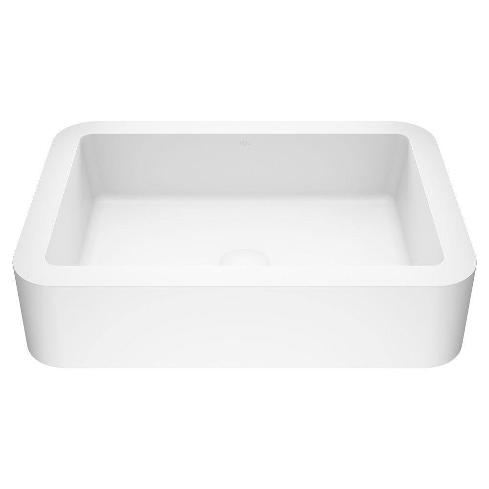 VIGO Petunia Handmade Matte Stone Rectangle Vessel Bathroom Sink in Matte White