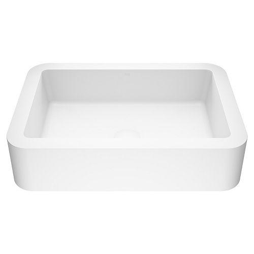 Matte Stone Petunia Composite Rectangular Vessel Bathroom Sink in White