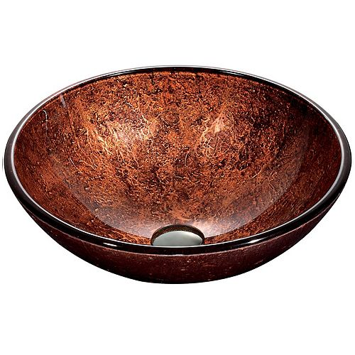 Mahogany Handmade Countertop Glass Round Vessel Bathroom Sink in Copper