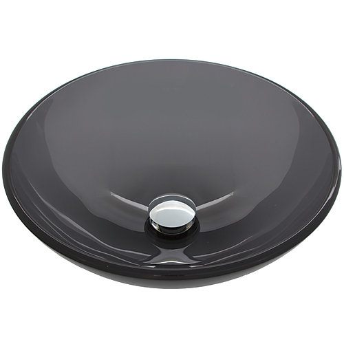 Sheer Handmade Countertop Glass Round Vessel Bathroom Sink in Sheer Black