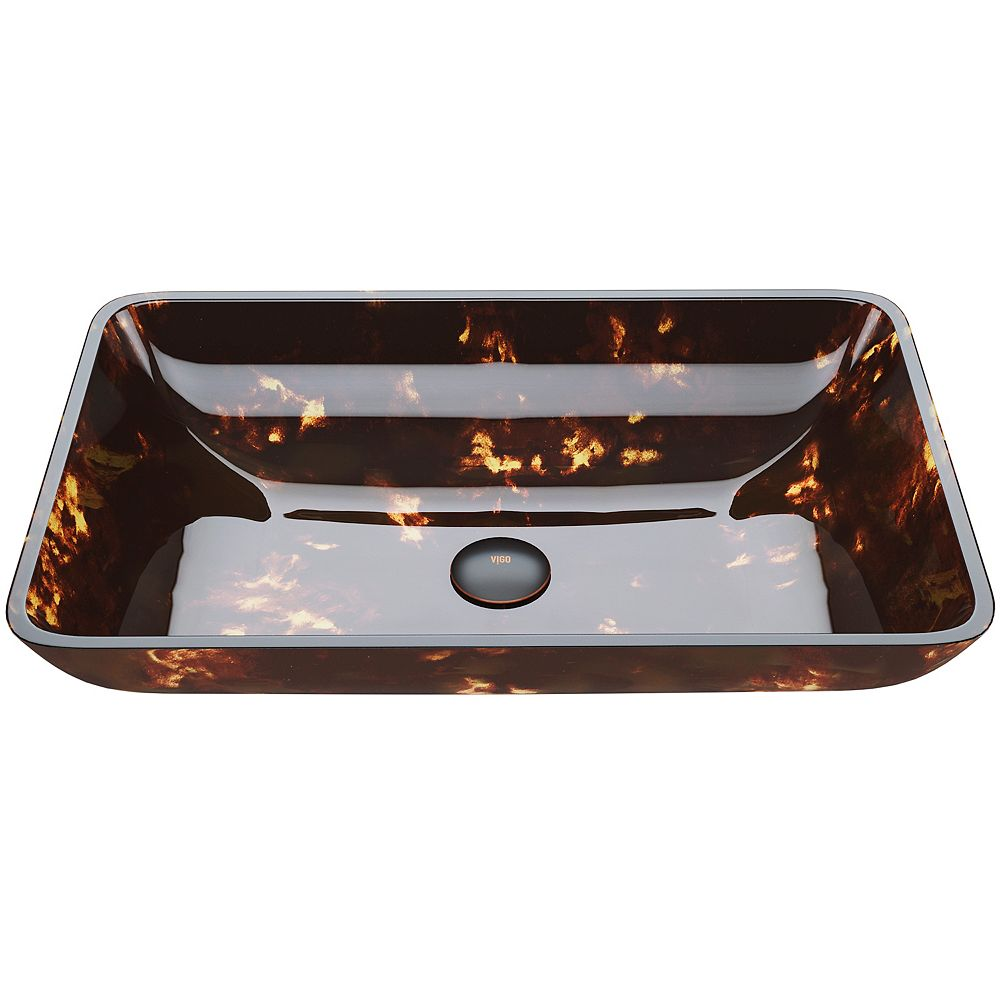 VIGO Brown And Gold Fusion Handmade Glass Rectangular Vessel Bathroom Sink in Brown And Gold Fusion