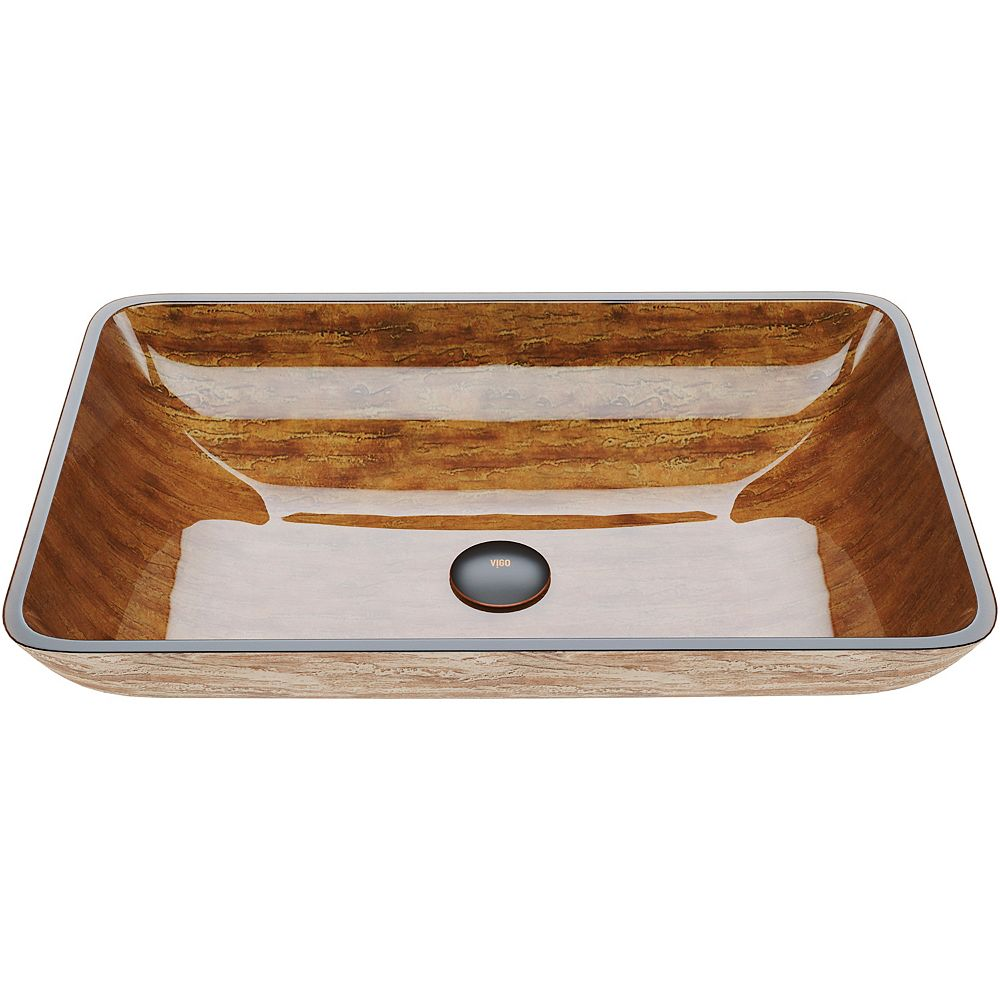 VIGO Amber Sunset Handmade Countertop Glass Rectangle Vessel Bathroom Sink in Light Wood