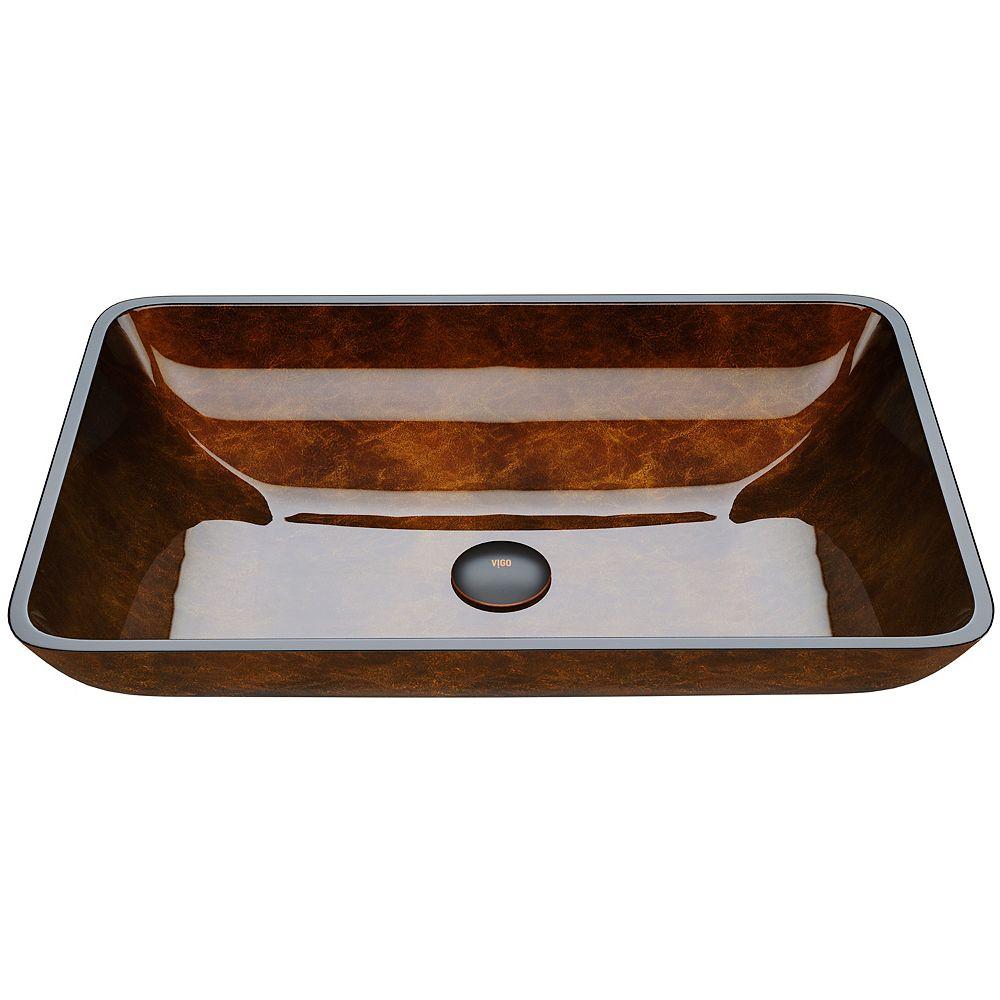VIGO Russet Handmade Glass Rectangle Vessel Bathroom Sink in Rich Chocolate Brown