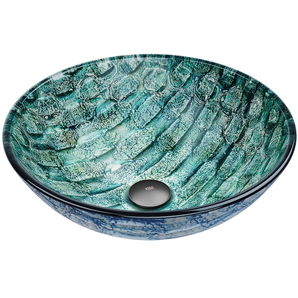 VIGO Oceania Handmade Glass Round Vessel Bathroom Sink in Patterned Teal