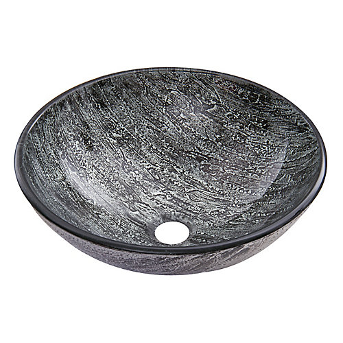 Titanium Handmade Glass Round Vessel Bathroom Sink in Slate Grey
