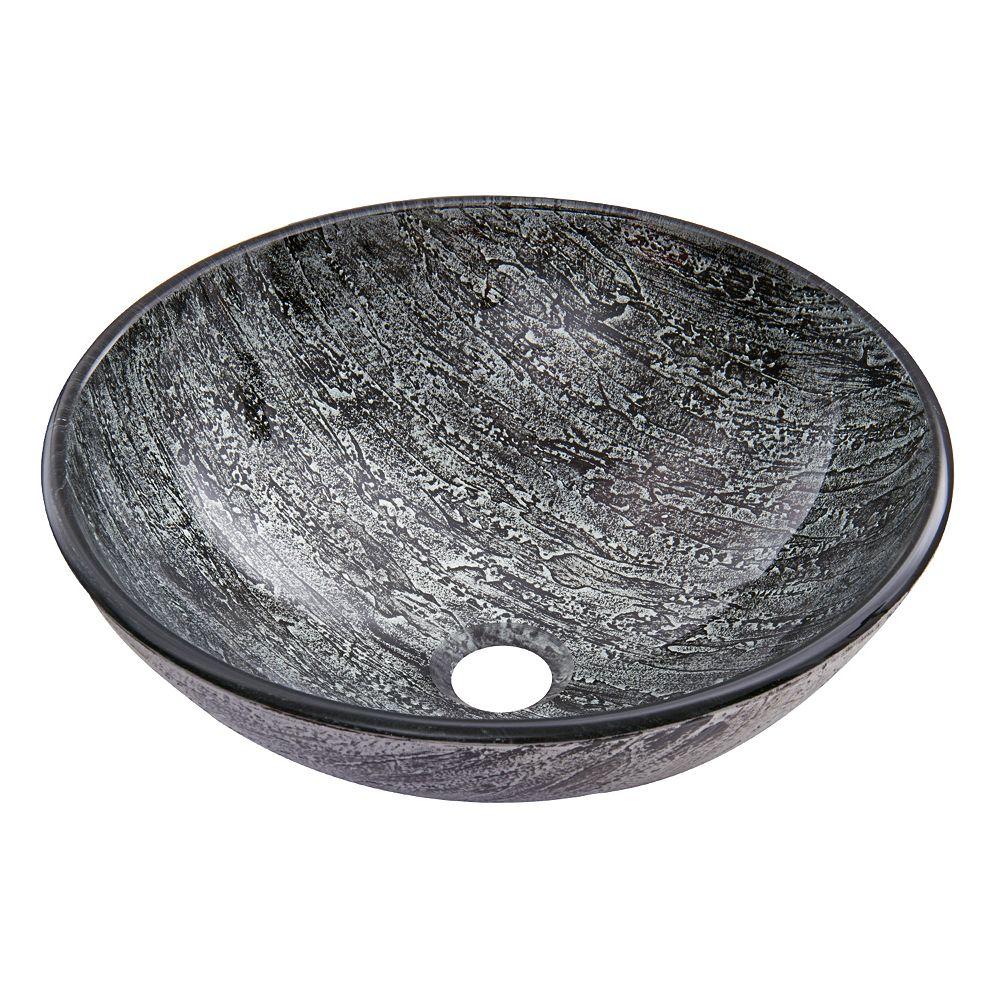 VIGO Titanium Handmade Glass Round Vessel Bathroom Sink in Slate Grey