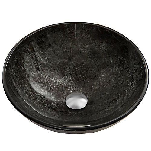 Gray Handmade Countertop Glass Round Vessel Bathroom Sink in Gray Onyx