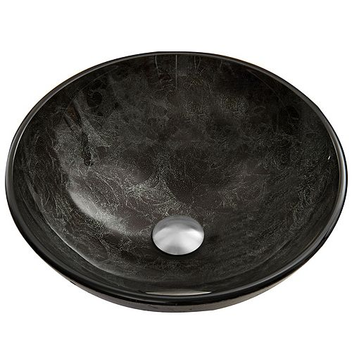 Gray Handmade Glass Round Vessel Bathroom Sink in Gray Onyx
