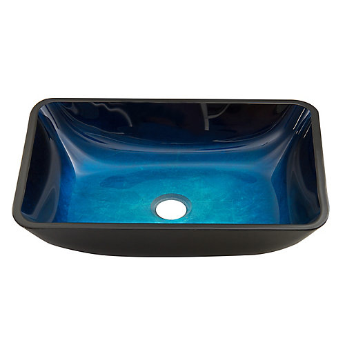 Turquoise Water Handmade Countertop Glass Rectangular Vessel Bathroom Sink