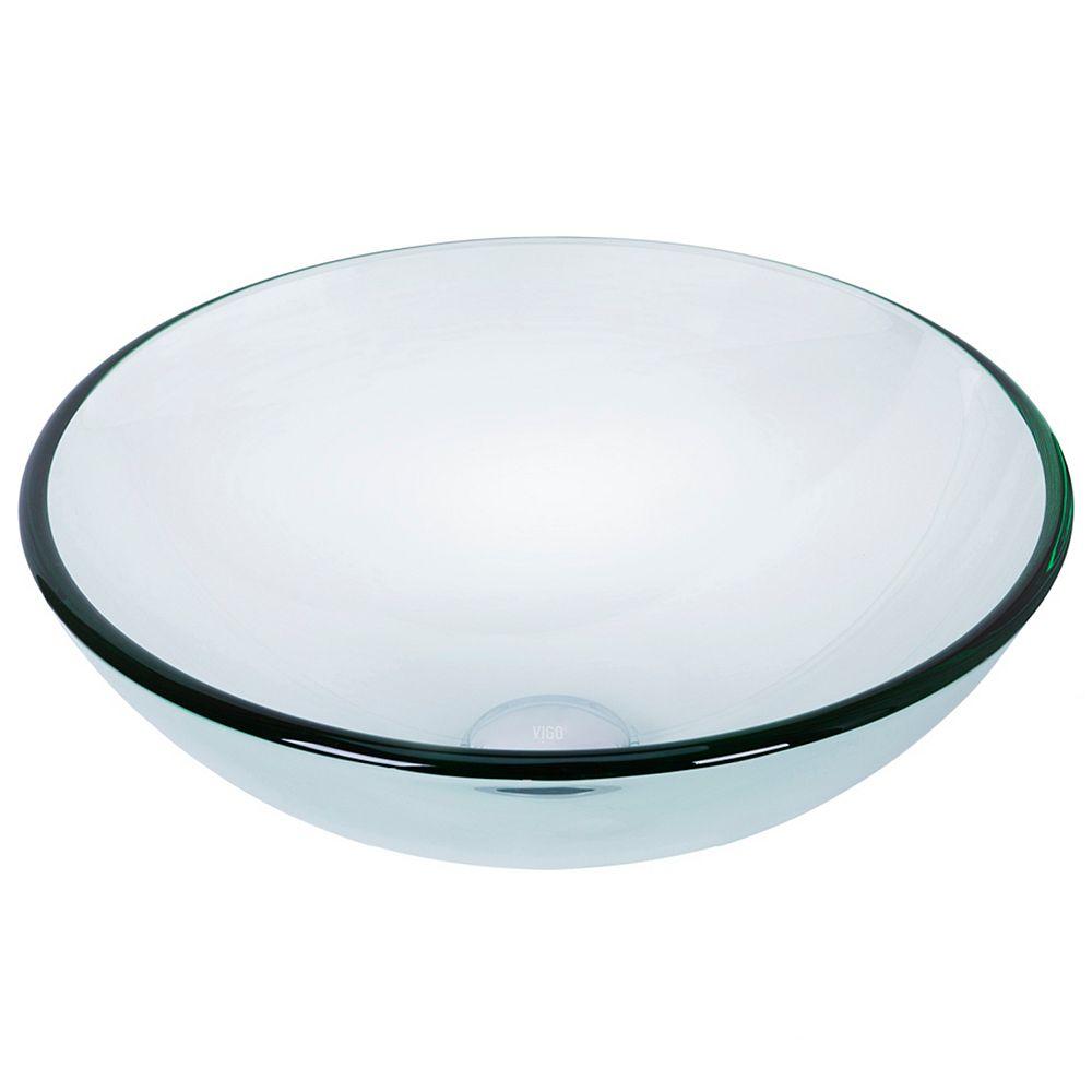 VIGO Clear Crystalline Handmade Countertop Glass Round Vessel Bathroom Sink in Iridescent