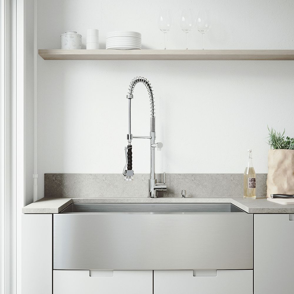 VIGO All-in-One 36 inch Camden Stainless Steel Single Bowl Farmhouse Kitchen Sink with Pull Down Faucet in Chrome