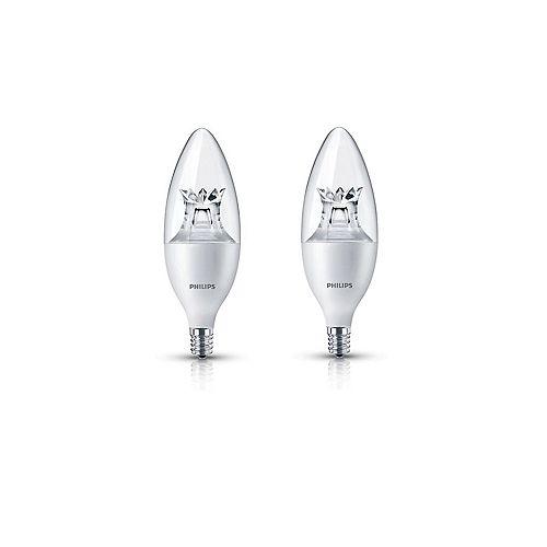 Philips Amp. DEL lum. ch. lustre petit culot ENERGY STAR, éq. 60 W, 2 700 K à 2 200 K, bl. doux, ens. de 2