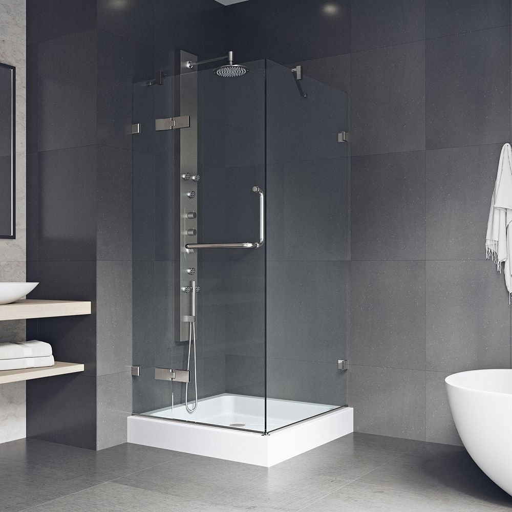 VIGO Monteray 32.375 inch x 79.25 inch Frameless Pivot Shower Enclosure in Brushed Nickel with Clear Glass with Base