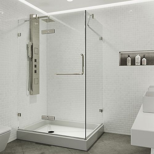 Monteray 48.125 inch x 79.25 inch Frameless Hinged Shower Enclosure in Brushed Nickel with Clear Glass and Left Base