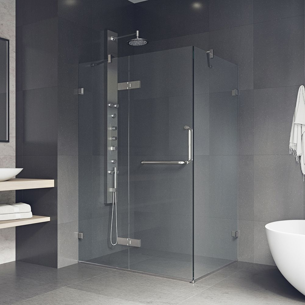 VIGO Monteray 38.25 inch x 73.375 inch Frameless Corner Hinged Shower Enclosure in Brushed Nickel with Clear Glass