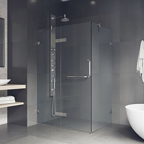 Monteray 38.25 inch x 73.375 inch Frameless Corner Hinged Shower Enclosure in Brushed Nickel with Clear Glass