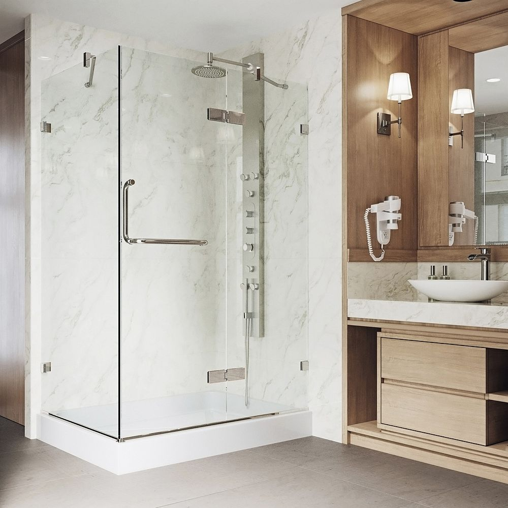 VIGO Monteray 40.25 inch x 79.25 inch Frameless Hinged Shower Door in Brushed Nickel and Clear Glass with Right Base