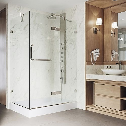 Monteray 48.125 inch x 79.25 inch Frameless Pivot Shower Door in Brushed Nickel with Clear Glass and Right Base