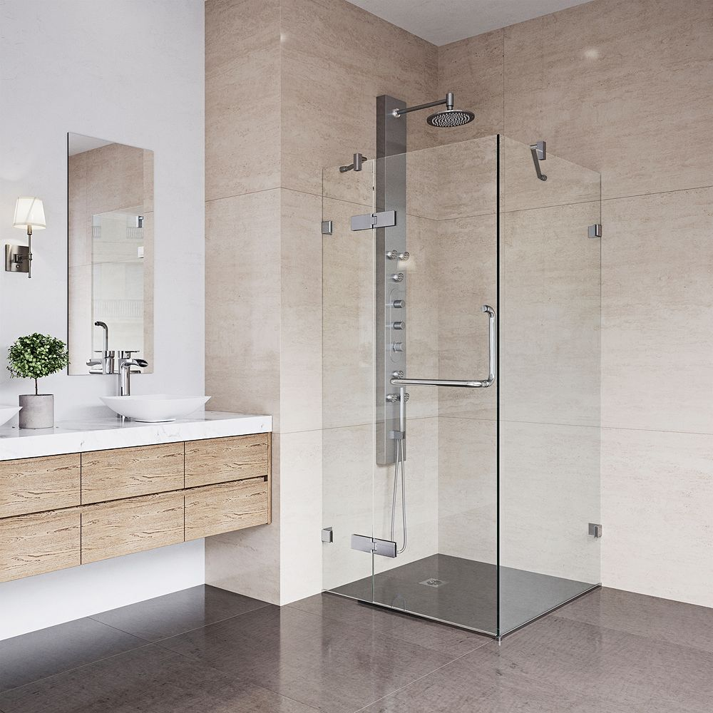 VIGO Monteray 30.25 inch x 73.375 inch Frameless Corner Hinged Shower Enclosure in Chrome with Clear Glass