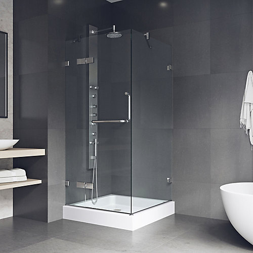 Monteray 32.375 inch x 79.25 inch Frameless Pivot Shower Enclosure in Chrome and Clear Glass with Base in White