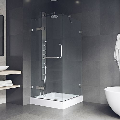 VIGO Monteray 36.125 x 79.25 inch Frameless Shower Enclosure in Chrome with Clear Glass with Base in White
