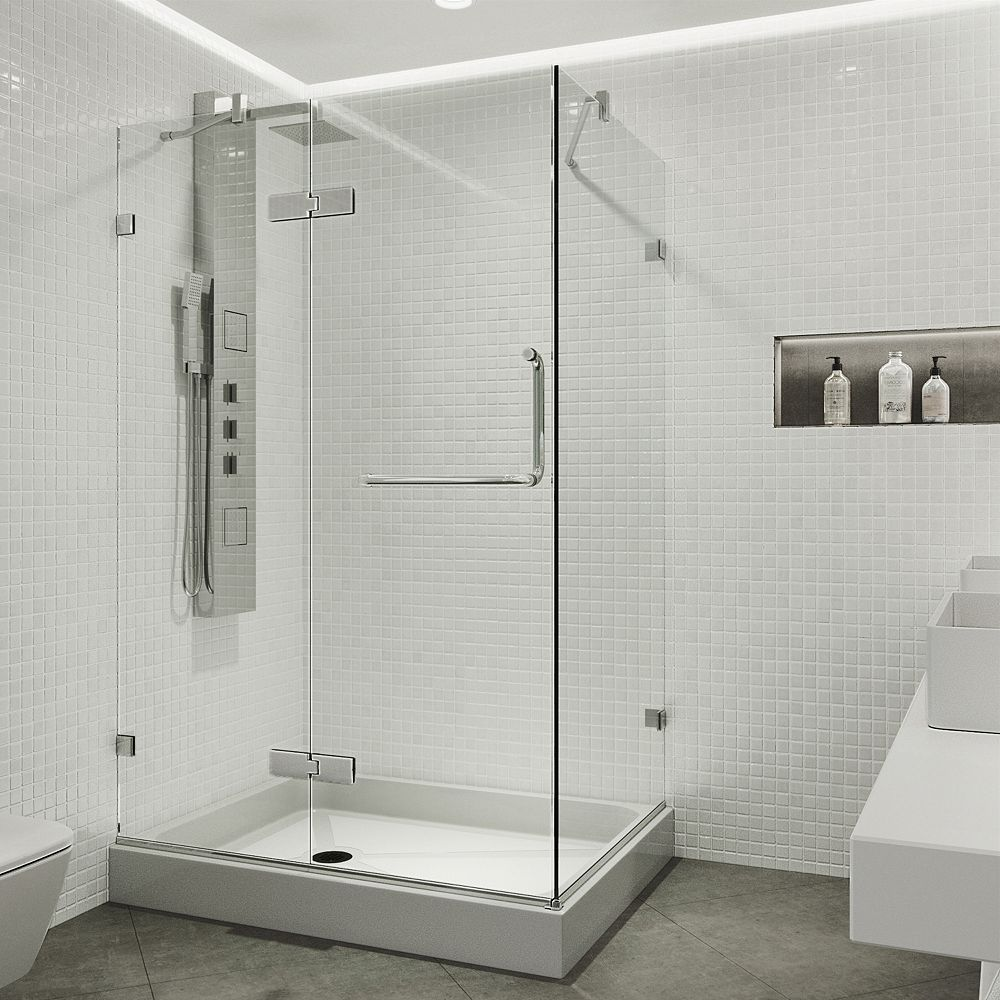 VIGO Monteray 40.25 inch x 79.25 inch Frameless Hinged Shower Enclosure in Chrome with Clear Glass with Left Base in White