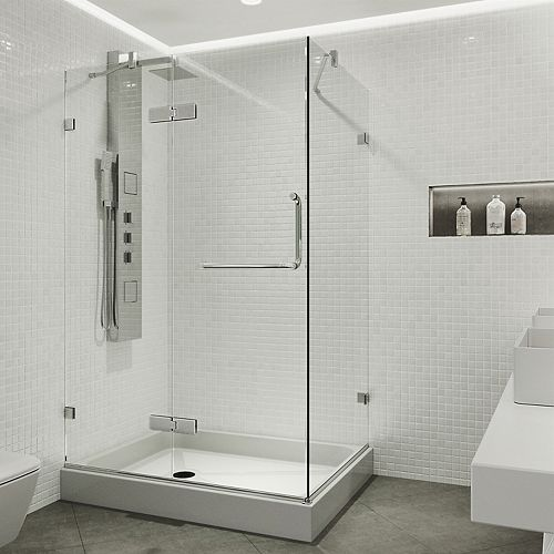 Monteray 40.25 inch x 79.25 inch Frameless Hinged Shower Enclosure in Chrome with Clear Glass with Left Base in White